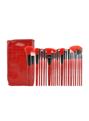 Professional 24 Pieces Makeup Brushes Set with Folding PU Leather Bag, Red