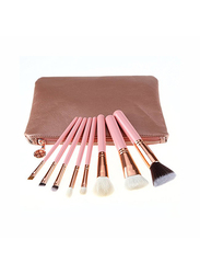 Professional 8 Pieces Makeup Brushes Set with Zipper Bag, Pink