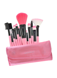 12 Pieces Makeup Beauty and Cosmetic Brushes Set with PU Leather Pouch, Pink