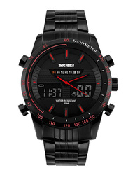 SKMEI LED Analog/Digital Stainless Steel Japanese-Quartz Sports Watch for Men, Water Resistant with Chronograph, Black-Red, 1131