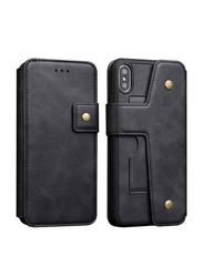 Detachable 2-in-1 iPhone XS Max Mobile Phone Flip Case Cover, with Card Holder Built-in Magnetic Holder, Black