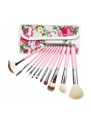 Elegant Professional 12 Pieces Makeup Brushes Set Kit with Flower Design Bag, Pink