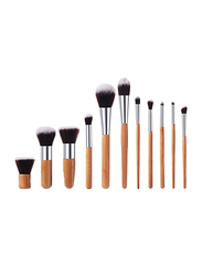 Professional 11 Pieces Makeup and Cosmetic Brushes Set, Brown