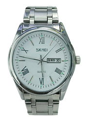 SKMEI Analog Stainless Steel Watch for Men, Water Resistant with Date Display, Silver-White, 9056