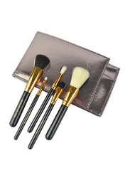 Makeup For You Professional 5 Pieces Makeup Brushes Set with Pouch, Gold/Black