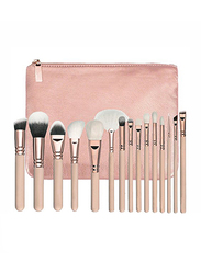 Professional 15 Pieces Makeup Brushes Set with PU Leather Bag, Pink