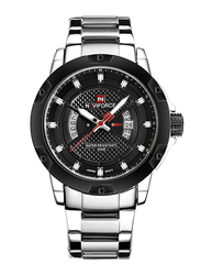 Naviforce Analog Stainless Steel Quartz Watch for Men, Water Resistant, Calendar Display, Silver-Black, 9085