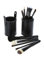 Professional 12 Pieces Makeup Brushes Set with Leather Cup Holder, Black