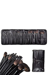 Professional 32 Pieces Crystal Goat Hair Makeup Brushes Set, Black