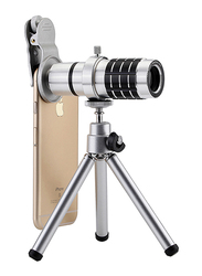 Ozone Universal 12X Optical Zoom Lens Telescope Lens for iPhone/Samsung/Huawei/OnePlus, with Clamp, Silver