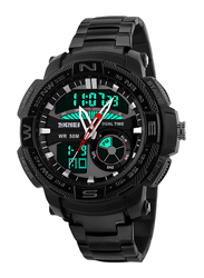 SKMEI LED Analog/Digital Stainless Steel Quartz Watch for Men, Water Resistant with Chronograph, Black-Red, 1121