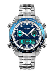 SKMEI Analog/Digital Stainless Steel Japanese-Quartz Watch for Men, Water Resistant with Chronograph, Silver-Blue, 1204