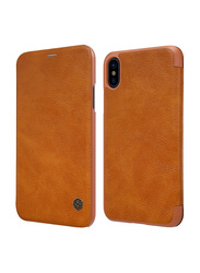 Nillkin Apple iPhone X Qin Flip Series Leather Mobile Phone Case Cover, Brown