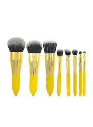 8 Pieces Portable Makeup Brushes Set, Yellow