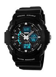 SKMEI Analog/Digital Rubber Japanese-Quartz Sports Watch for Men, Water Resistant with Chronograph, Black-White, 0955