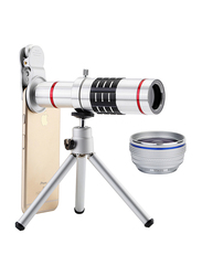 Ozone Universal 18X Optical Zoom Lens Telescope Lens for iPhone/Samsung/Huawei/OnePlus, with Clamp, Silver
