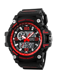 SKMEI Analog/Digital Polyurethane Sports Watch for Men, Water Resistant with Chronograph, Black-Red, 1283