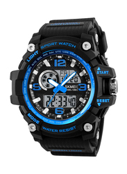 SKMEI Analog/Digital Polyurethane Sports Watch for Men, Water Resistant with Chronograph, Black-Blue, 1283