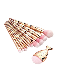 Professional 11 Pieces Mermaid Unicorn Horn Nylon Hair Makeup Brushes Set, Gold