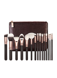 Professional 15 Pieces Makeup Brushes Set with PU Leather Bag, Black