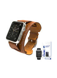 PU Leather Apple Watch 42mm Band Strap, with Screen Protector, Brown