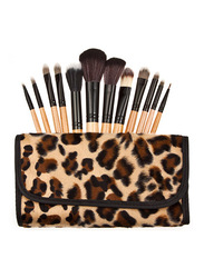 Professional 10 Pieces Wood Handle Makeup Brushes Gift Set with Faux Animal Print Carry Bag, Brown
