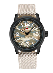 Naviforce Analog Fabric/Canvas Watch for Men, Water Resistant, Beige-Beige Camouflage, 9080