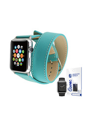 PU Leather Apple Watch 42mm Band Strap Double Tour, with Screen Protector, Blue