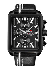 Naviforce Analog Leather Quartz Watch for Men, Water Resistant with Chronograph, Calendar Diplay, Black-White, 9111