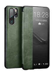 XOOMZ Huawei P30 Pro Genuine Leather Smart Flip Mobile Phone Case Cover, with Wake/Sleep View Window, Green