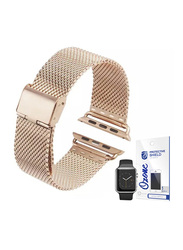 Stainless Steel Apple Watch 42mm Mesh Wrist Strap, with Screen Protector, Rose Gold
