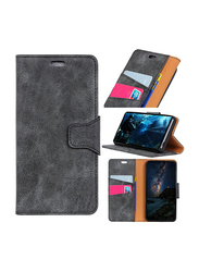 Leather Wallet OnePlus 6 Vintage Style PU Leather Mobile Phone Flip Case Cover, Grey
