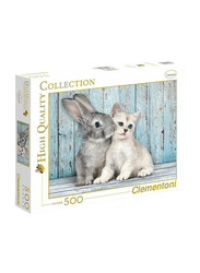 Clementoni 500-Piece Best Friends Cat and Bunny Adult Jigsaw Puzzle