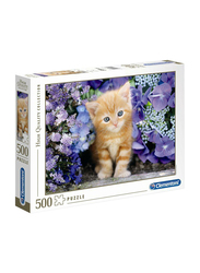 Clementoni 500-Piece Ginger Cat In Flowers Adult Jigsaw Puzzle