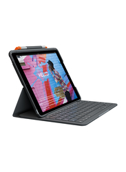 Logitech Slim Folio English/Arabic Keyboard for Apple iPad Air (3rd Gen)/iPad (7th/8th Gen), with Case Cover, Black