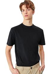 Giordano Crew Neck Shot Sleeve T-Shirt for Men, Large, Black