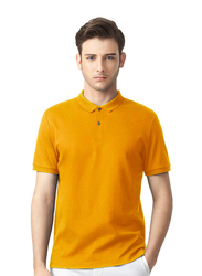 Giordano Luxury Touch Short Sleeve Polo Shirt for Men, Medium, Yellow
