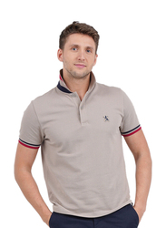 Giordano Small Lion Embroidery Short Sleeve Polo Shirt for Men, Small, Brown