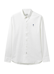 Giordano Long Sleeve Classic Stretchy Oxford Shirt for Men, Extra Large, White
