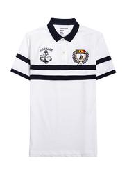 Giordano Napoleon Courage Embroidery Short Sleeve Polo Shirt for Men, Medium, White/Blue