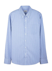Giordano Wrinkle-free Oxford Stripe Long Sleeve Shirt for Men, Small, White/Blue