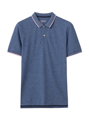 Giordano Contrast Tipping Short Sleeve Polo Shirt for Men, Extra Large, Denim Blue