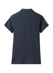 Giordano Short Sleeve 3D Lion Polo Shirt for Women, Small, Navy Blue