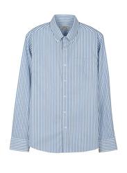 Giordano Wrinkle-free Oxford Stripe Long Sleeve Shirt for Men, Small, White/Navy Blue