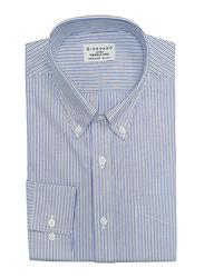 Giordano Wrinkle-free Oxford Stripe Long Sleeve Shirt for Men, Small, White/Blue/Navy Blue