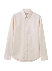 Giordano Wrinkle Free Long Sleeve Shirt for Men, Large, Beige
