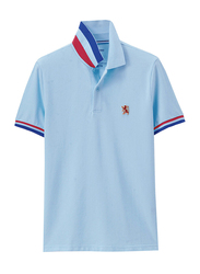 Giordano Small Lion Polo Shirt for Men, Large, Blue/Red