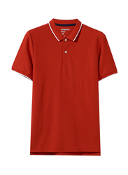 Giordano Contrast Tipping Short Sleeve Polo Shirt for Men, Extra Large, Red