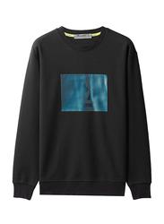 Giordano G-Motion Bright Reflective University T-Shirt for Men, Small, Dark Black