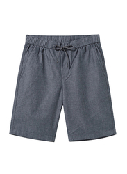 Giordano Slim Fit Elastic Waist Cotton Casual Shorts for Men, Small, Blue